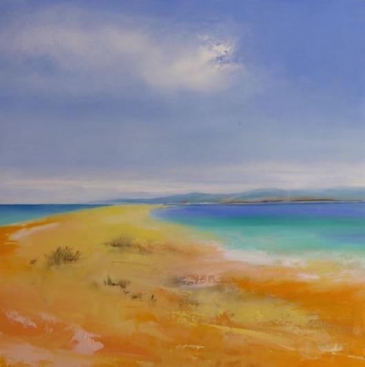 Joy Moore, Olivera beach. Olio su tela, coll. privata