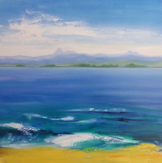 Joy Moore, View from Olivera beach. Olio su tela, coll. privata