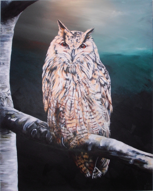 Serena de Gier, La gufa (the female owl), acrylic on canvas, 100 x 80