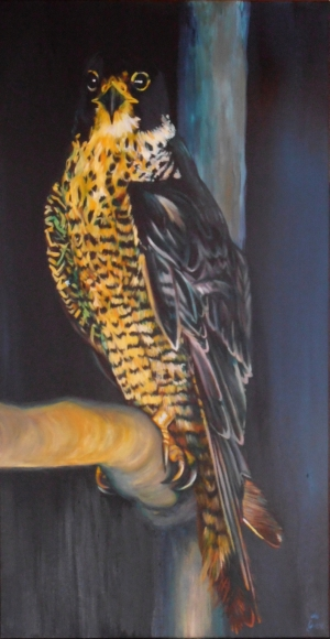 Serena de Gier, Il pellegrino (the peregrine), acrylic on canvas 80 x 40