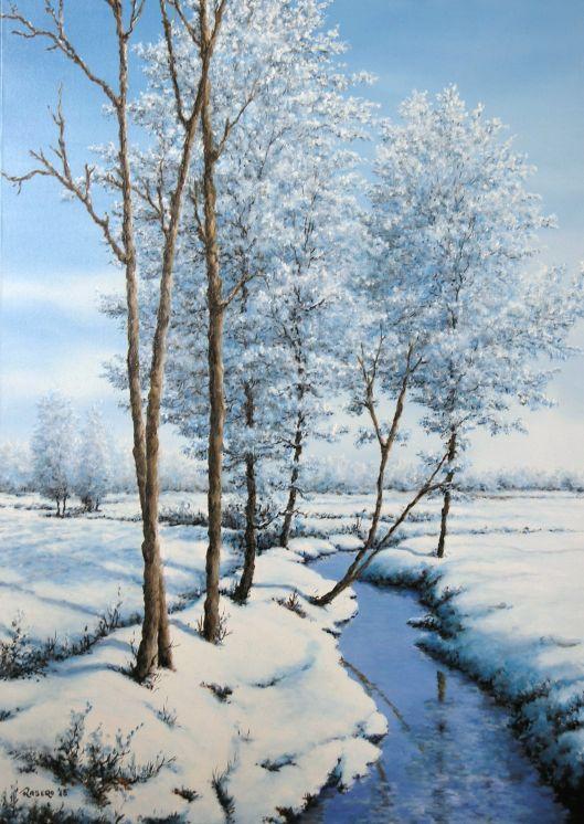 Piero Rasero, Neve e brina sulla roggia, 2015. Olio su tela 50 x 70